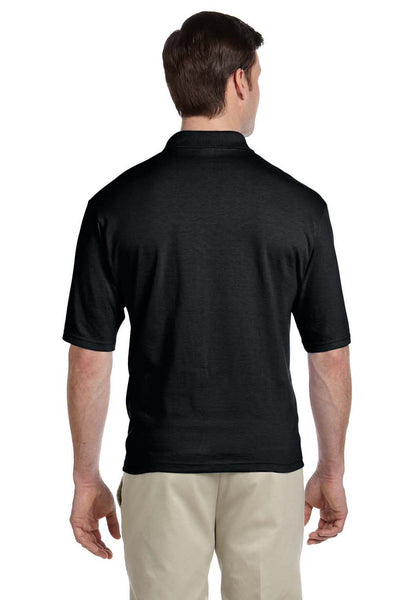 Jerzees 436P Mens SpotShield Stain Resistant Short Sleeve Polo Shirt w/ Pocket Black Back