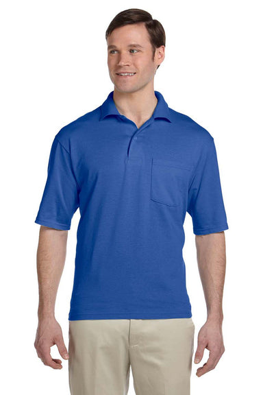 Jerzees 436P Mens SpotShield Stain Resistant Short Sleeve Polo Shirt w/ Pocket Royal Blue Front