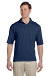 Jerzees 436P Mens SpotShield Stain Resistant Short Sleeve Polo Shirt w/ Pocket Navy Blue Front