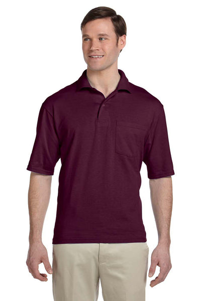 Jerzees 436P Mens SpotShield Stain Resistant Short Sleeve Polo Shirt w/ Pocket Maroon Front