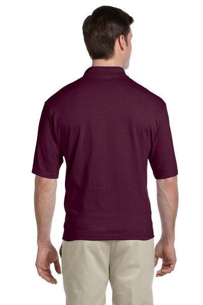 Jerzees 436P Mens SpotShield Stain Resistant Short Sleeve Polo Shirt w/ Pocket Maroon Back