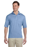 Jerzees 436P Mens SpotShield Stain Resistant Short Sleeve Polo Shirt w/ Pocket Light Blue Front