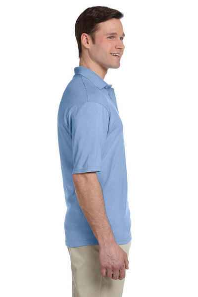 Jerzees 436P Mens SpotShield Stain Resistant Short Sleeve Polo Shirt w/ Pocket Light Blue Side