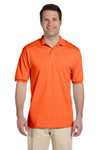Jerzees 437 Mens SpotShield Stain Resistant Short Sleeve Polo Shirt Safety Orange Front