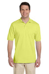 Jerzees 437 Mens SpotShield Stain Resistant Short Sleeve Polo Shirt Safety Green Front