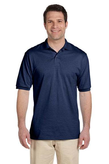 Jerzees 437 Mens SpotShield Stain Resistant Short Sleeve Polo Shirt Navy Blue Front