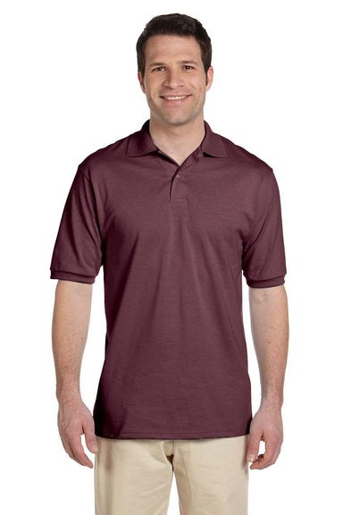 Jerzees 437 Mens SpotShield Stain Resistant Short Sleeve Polo Shirt Maroon Front