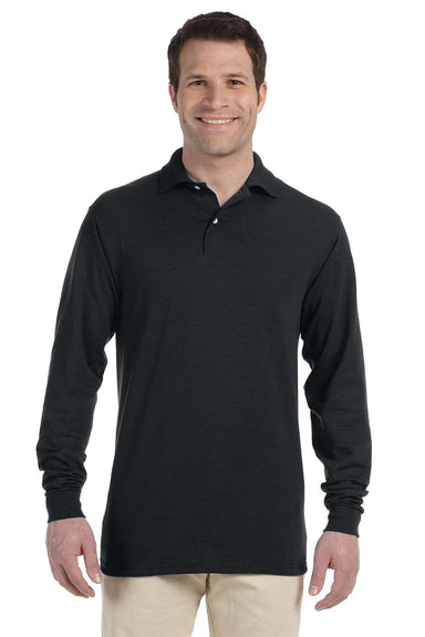 Jerzees 437ML Mens SpotShield Stain Resistant Long Sleeve Polo Shirt Black Front