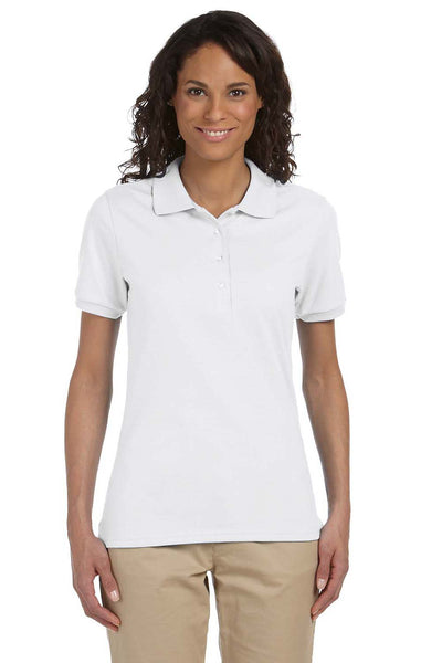 Jerzees 437W Womens SpotShield Stain Resistant Short Sleeve Polo Shirt White Front