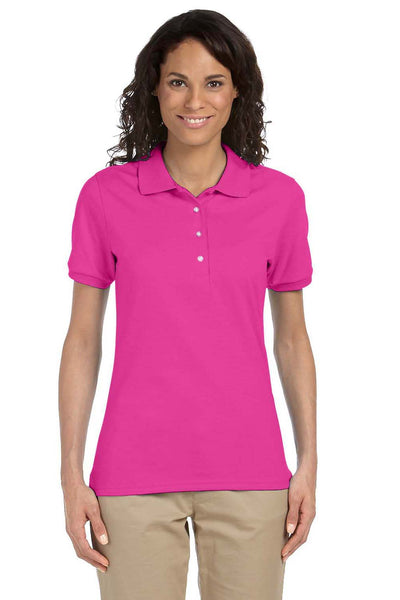 Jerzees 437W Womens SpotShield Stain Resistant Short Sleeve Polo Shirt Cyber Pink Front