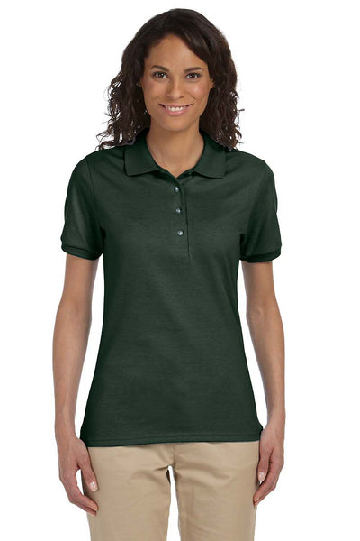 Jerzees 437W Womens SpotShield Stain Resistant Short Sleeve Polo Shirt Forest Green Front