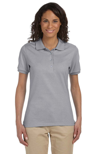 Jerzees 437W Womens SpotShield Stain Resistant Short Sleeve Polo Shirt Oxford Grey Front
