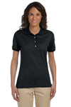 Jerzees 437W Womens SpotShield Stain Resistant Short Sleeve Polo Shirt Black Front