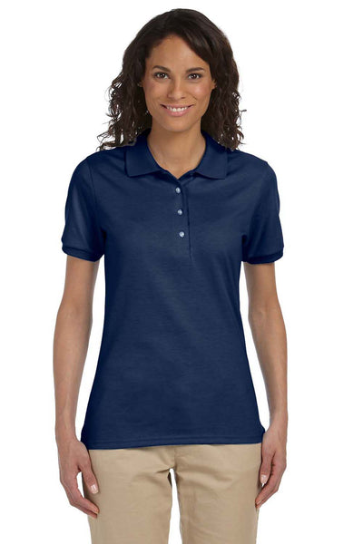 Jerzees 437W Womens SpotShield Stain Resistant Short Sleeve Polo Shirt Navy Blue Front