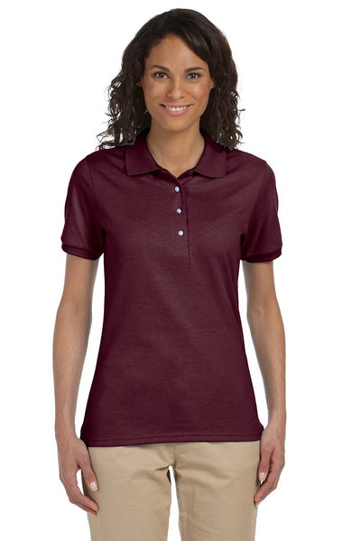 Jerzees 437W Womens SpotShield Stain Resistant Short Sleeve Polo Shirt Maroon Front