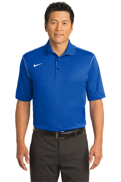 Nike 443119 Mens Sport Swoosh Dri-Fit Moisture Wicking Short Sleeve Polo Shirt Royal Blue Front