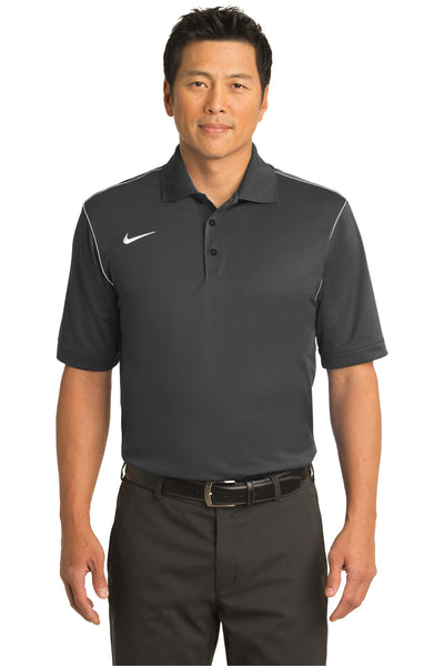 Nike 443119 Mens Sport Swoosh Dri-Fit Moisture Wicking Short Sleeve Polo Shirt Grey Front
