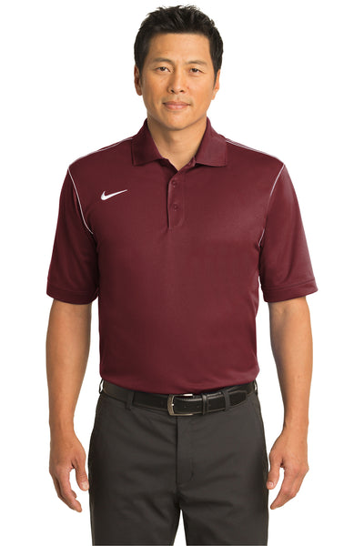 Nike 443119 Mens Sport Swoosh Dri-Fit Moisture Wicking Short Sleeve Polo Shirt Team Red Front