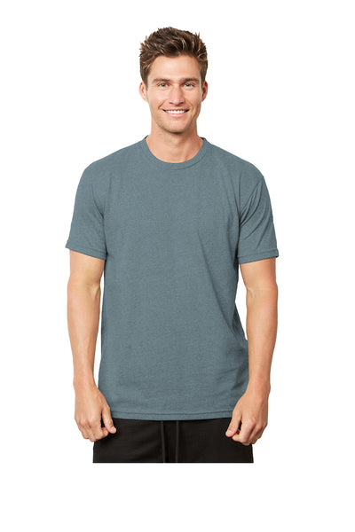 Next Level 4600 Mens Eco Short Sleeve Crewneck T-Shirt Heather Pacific Blue Front