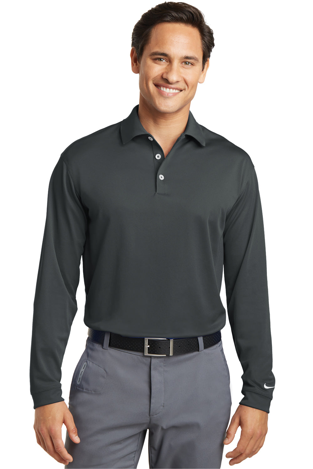 Nike 466364 Mens Stretch Tech Dri-Fit Moisture Wicking Long Sleeve Polo Shirt Anthracite Grey Front