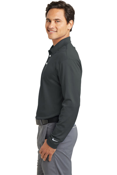 Nike 466364 Mens Stretch Tech Dri-Fit Moisture Wicking Long Sleeve Polo Shirt Anthracite Grey Side