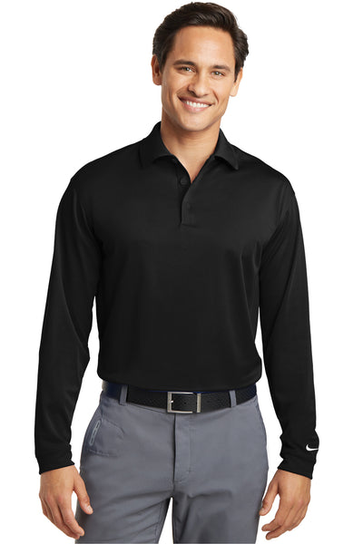 Nike 466364 Mens Stretch Tech Dri-Fit Moisture Wicking Long Sleeve Polo Shirt Black Front