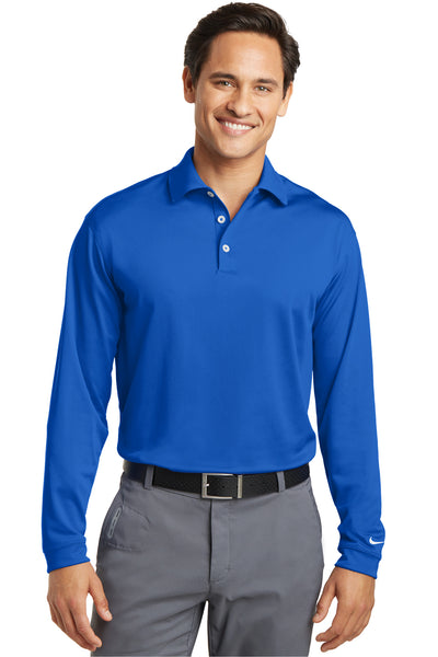 Nike 466364 Mens Stretch Tech Dri-Fit Moisture Wicking Long Sleeve Polo Shirt Royal Blue Front