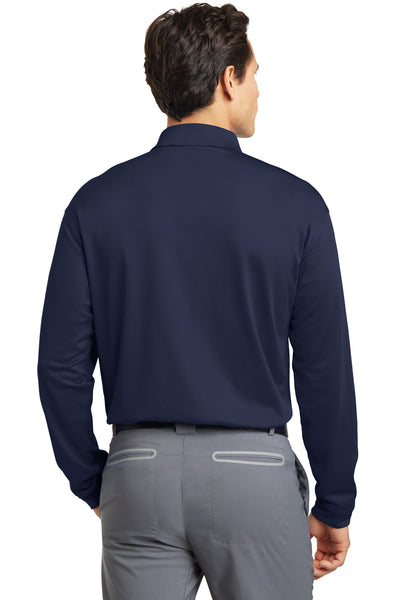 Nike 466364 Mens Stretch Tech Dri-Fit Moisture Wicking Long Sleeve Polo Shirt Navy Blue Back