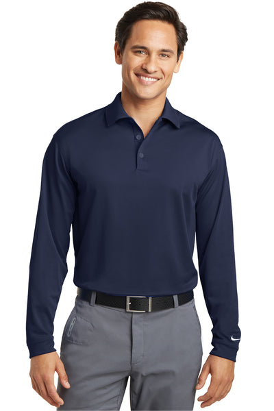 Nike 466364 Mens Stretch Tech Dri-Fit Moisture Wicking Long Sleeve Polo Shirt Navy Blue Front