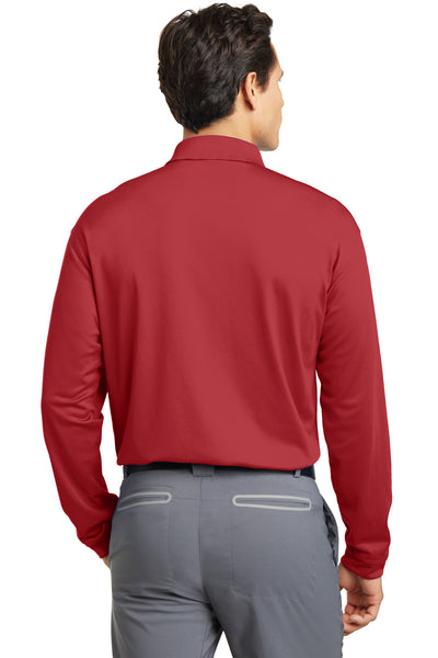 Nike 466364 Mens Stretch Tech Dri-Fit Moisture Wicking Long Sleeve Polo Shirt Red Back