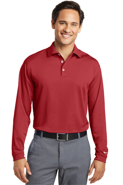 Nike 466364 Mens Stretch Tech Dri-Fit Moisture Wicking Long Sleeve Polo Shirt Red Front