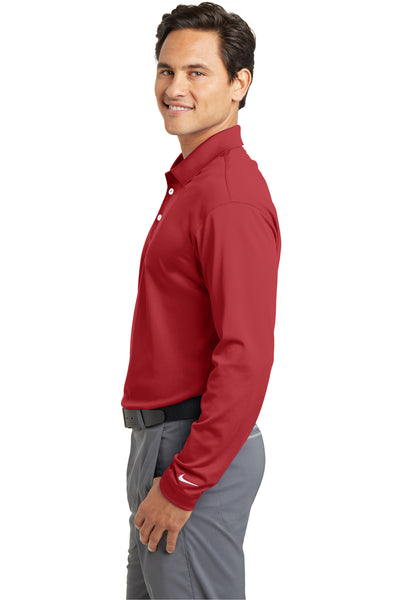 Nike 466364 Mens Stretch Tech Dri-Fit Moisture Wicking Long Sleeve Polo Shirt Red Side