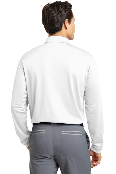 Nike 466364 Mens Stretch Tech Dri-Fit Moisture Wicking Long Sleeve Polo Shirt White Back