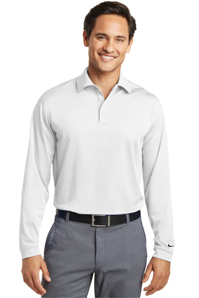 Nike 466364 Mens Stretch Tech Dri-Fit Moisture Wicking Long Sleeve Polo Shirt White Front