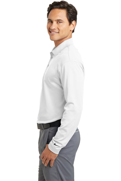 Nike 466364 Mens Stretch Tech Dri-Fit Moisture Wicking Long Sleeve Polo Shirt White Side
