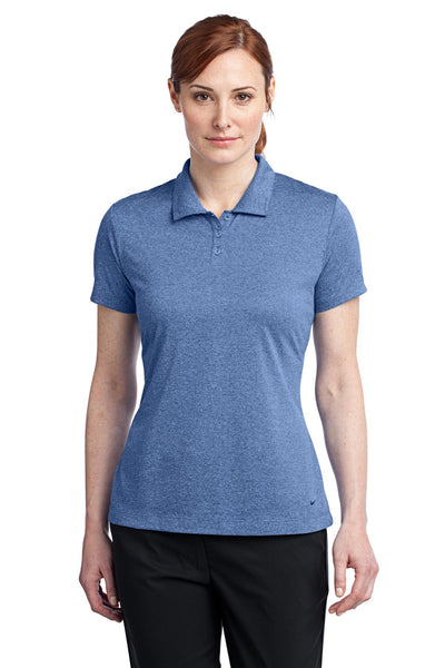 Nike 474455 Womens Dri-Fit Moisture Wicking Short Sleeve Polo Shirt Heather Royal Blue Front