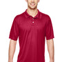 Hanes Mens Cool Dri Fresh IQ Moisture Wicking Short Sleeve Polo Shirt - Deep Red