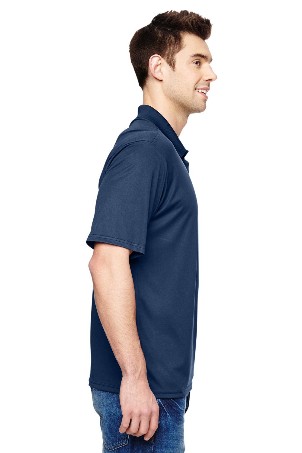 Hanes 4800 Mens Cool Dri Fresh IQ Moisture Wicking Short Sleeve Polo Shirt Navy Blue Side