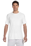 Hanes 4820 Mens Cool DRI FreshIQ Moisture Wicking Short Sleeve Crewneck T-Shirt White Front