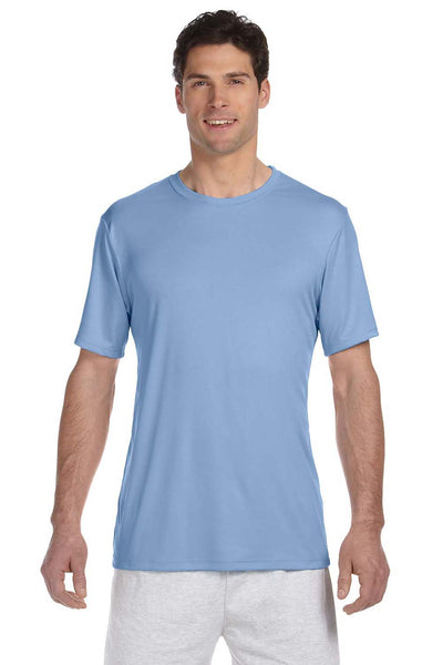 Hanes 4820 Mens Cool DRI FreshIQ Moisture Wicking Short Sleeve Crewneck T-Shirt Light Blue Front