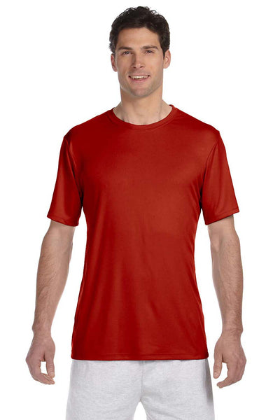 Hanes 4820 Mens Cool DRI FreshIQ Moisture Wicking Short Sleeve Crewneck T-Shirt Red Front
