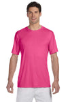 Hanes 4820 Mens Cool DRI FreshIQ Moisture Wicking Short Sleeve Crewneck T-Shirt Wow Pink Front