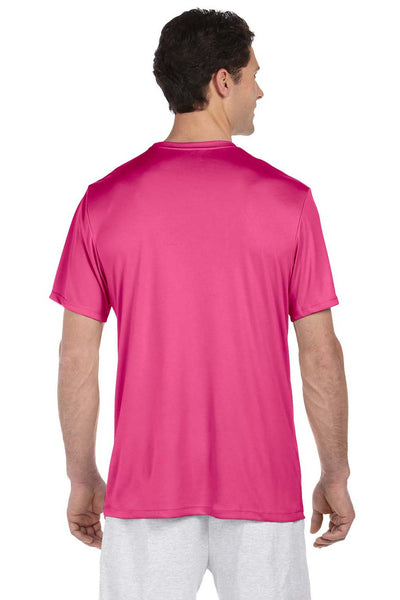 Hanes 4820 Mens Cool DRI FreshIQ Moisture Wicking Short Sleeve Crewneck T-Shirt Wow Pink Back