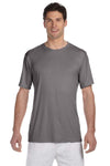 Hanes 4820 Mens Cool DRI FreshIQ Moisture Wicking Short Sleeve Crewneck T-Shirt Graphite Grey Front