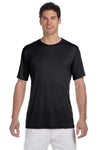 Hanes 4820 Mens Cool DRI FreshIQ Moisture Wicking Short Sleeve Crewneck T-Shirt Black Front