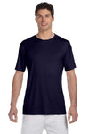 Hanes 4820 Mens Cool DRI FreshIQ Moisture Wicking Short Sleeve Crewneck T-Shirt Navy Blue Front