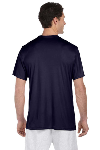 Hanes 4820 Mens Cool DRI FreshIQ Moisture Wicking Short Sleeve Crewneck T-Shirt Navy Blue Back