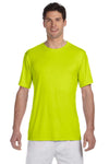 Hanes 4820 Mens Cool DRI FreshIQ Moisture Wicking Short Sleeve Crewneck T-Shirt Safety Green Front