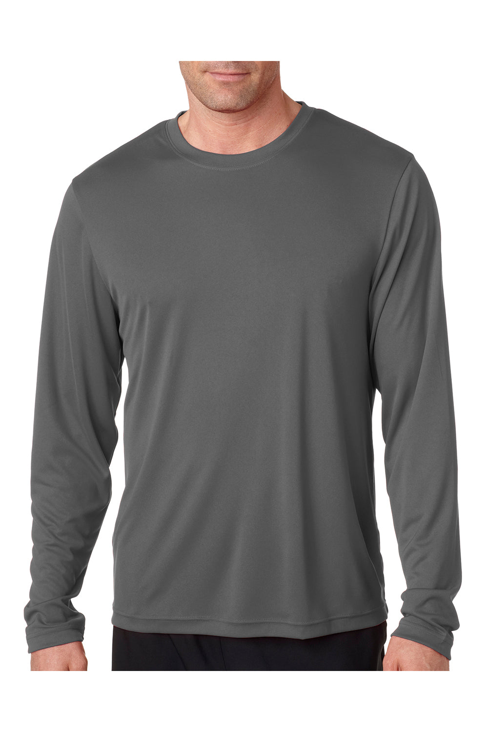Hanes 482L Mens Cool DRI FreshIQ Moisture Wicking Long Sleeve Crewneck T-Shirt Graphite Grey Front