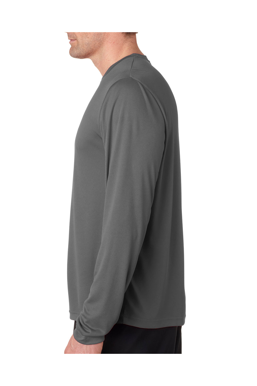 Hanes 482L Mens Cool DRI FreshIQ Moisture Wicking Long Sleeve Crewneck T-Shirt Graphite Grey Side